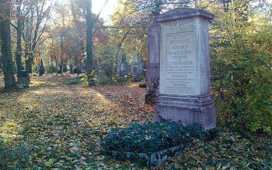 Senefelder's grave can be found at the Alter Suedfriedhof cemetery in Munich